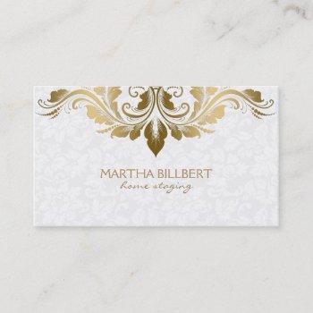 gold swirly lace on plush white damasks business card