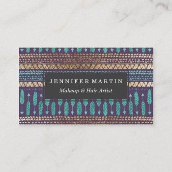 gold teal and purple arrows tribal aztec pattern business card