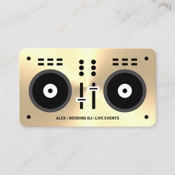 gold-tone faux wedding dj business card