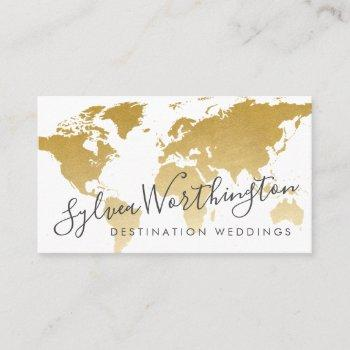 gold travel world map business card