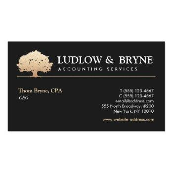 Small Gold Tree Logo Classic Professional Black Business Card Front View