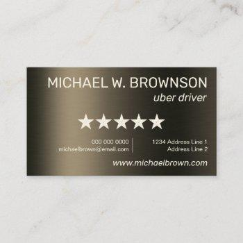 gold uber minimal driver business card