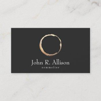 gold wine stain sommelier black business card