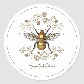 golden bee and rose floral laurel classic round sticker