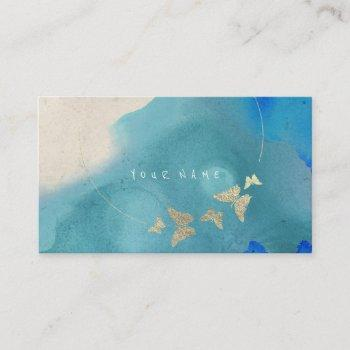 golden circle blue cobalt butterfly watercolor business card