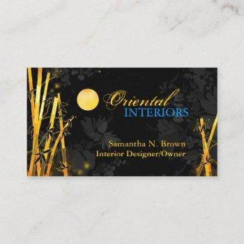 golden glittering bamboos black business cards