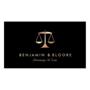 Small Golden Scale Attorney Business Cards Front View