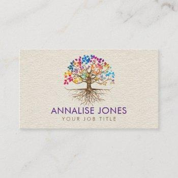 golden tree of life - yggdrasil - colorful leaves business card