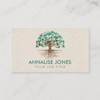 golden tree of life - yggdrasil - malachite leaves business card