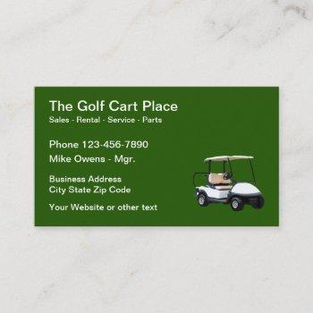 golf cart sales and rental theme business card
