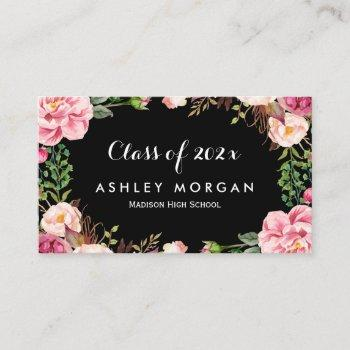 gorgeous floral girly graduation students calling card