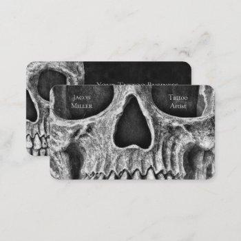 gothic skull face black and white tattoo shop business card