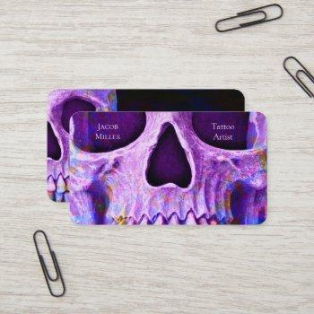 gothic skull face purple blue tattoo shop business card