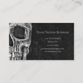 gothic skull head black and white tattoo shop business card