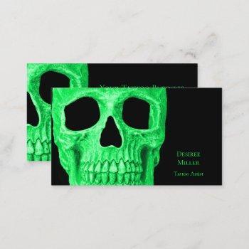 gothic skull head green neon black tattoo shop business card