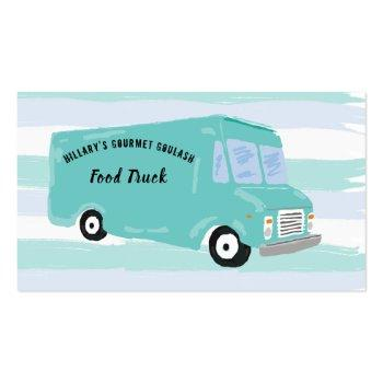 Small Gourmet Food Truck Business Cards Front View