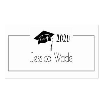 Small Graduation Cap Name Card Class Of 2020 Front View