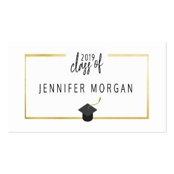 Small Graduation Gold | Elegant Name Card Front View