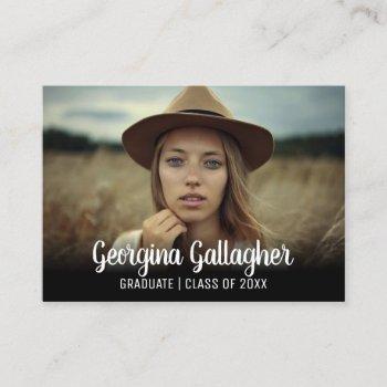 graduation modern bold photo | grad name script business card
