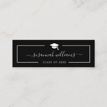 graduation name card | modern script black card