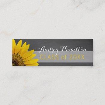 graduation name card senior class insert sunflower