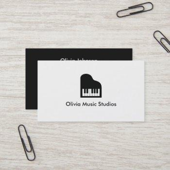 grand piano icon music teacher business card