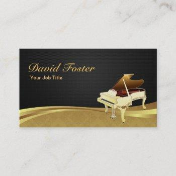 grand piano pianist elegant black gold damask business card
