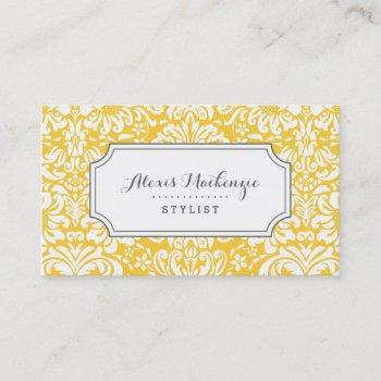 gray and yellow floral damask business card