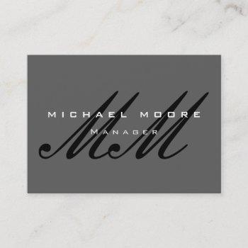 gray black script monogram modern business card