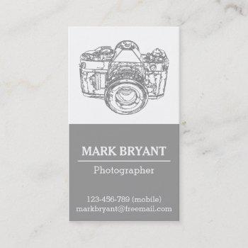 gray camera drawing, photographer business card