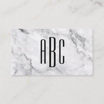 gray marble and black three letter monogram business card