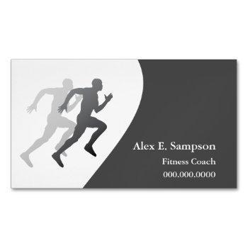 gray runner fitness coach business card magnet