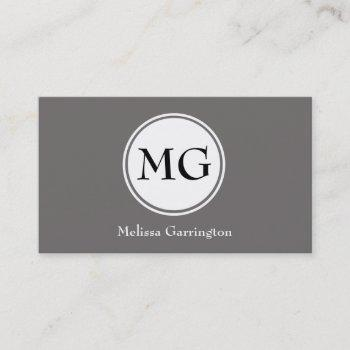 gray simple circle monogram custom business cards