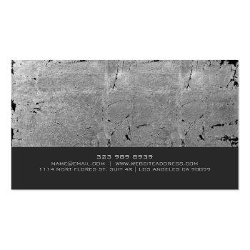 Small Gray Vintage Grunge Texture Fitness Trainer Business Card Back View