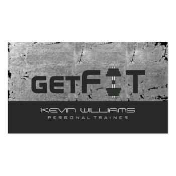 Small Gray Vintage Grunge Texture Fitness Trainer Business Card Front View