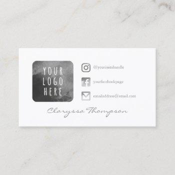gray watercolor logo & photo social media business card