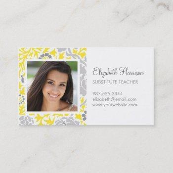 gray & yellow retro floral damask custom photo business card