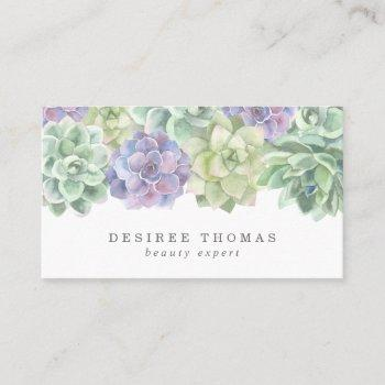 green and purple watercolor elegant succulents business card