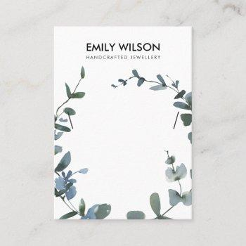 green blue coin eucalyptus fauna necklace display business card