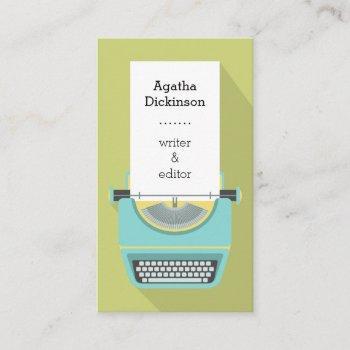 green blue retro typewriter professional writer business card