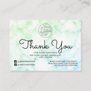 green blue tie-dye marble customer thank you business card