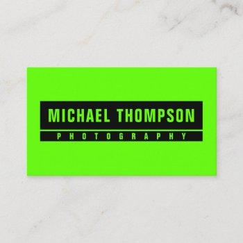 green bright and black business card
