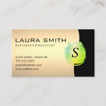 green brushed gold metallic black business card