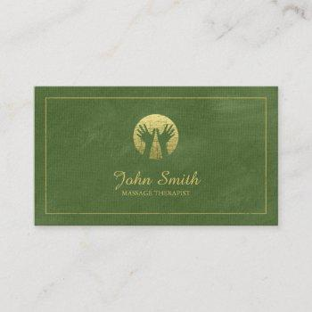 green canvas golden frame, hands massage therapy appointment card