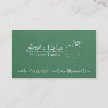 green chalkboard apple substitute teacher tutor business card