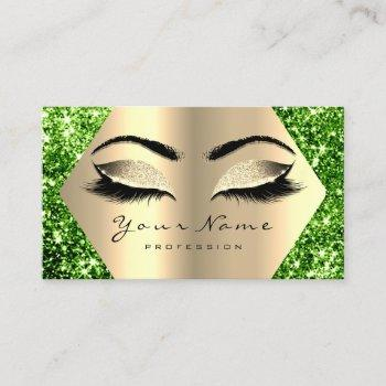 green champaigne gold glitter makeup lashes business card