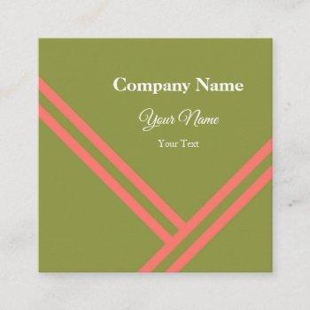 green coral diagonal stripes modern graphic design square business card