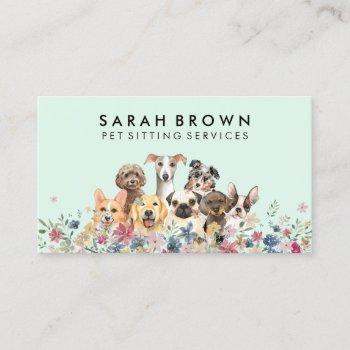 green dog groomer pet sitter walker petcare business card