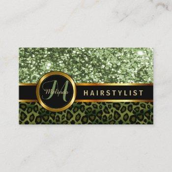 green glitter and leopard skin - hairstylist business card