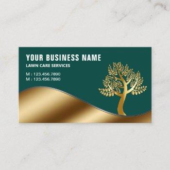 green gold tree gardening landscaping lawn care business card